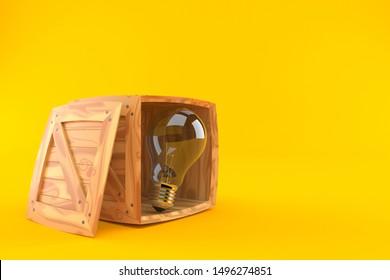Light bulb inside cargo crate isolated on orange background. 3d illustration