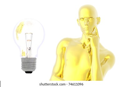 light bulb man in thought idea future render concept
