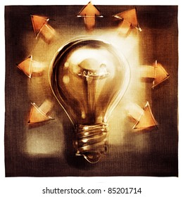 light bulb metaphor concept with arrows (loose painting)