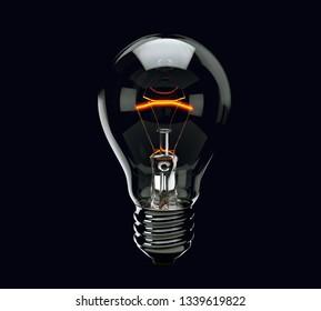 Light bulb on black background. 3d render