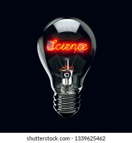 Light bulb on black background with word science. 3d render