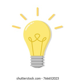 Light bulb with rays shine. Energy and idea symbol. Decoration for greeting cards, patches, prints for clothes, badges, posters, banners, etc. Illustration.