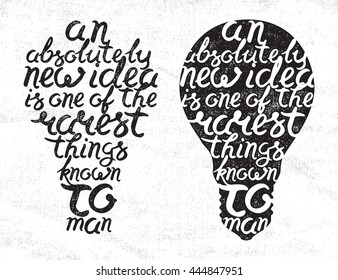 Light bulb shape inspirational handwritten lettering quote from Sir Thomas More on white canvas background