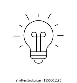 Light bulb shining icon on white background