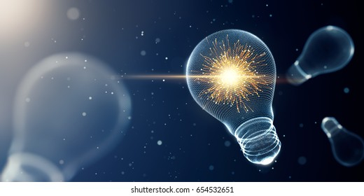 Light bulb with sparks - 3D Rendering