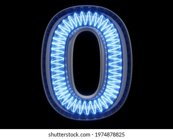 Light bulb spiral glowing digit alphabet character 0 zero null font. Front view illuminated number 1 symbol on black background. 3d rendering illustration