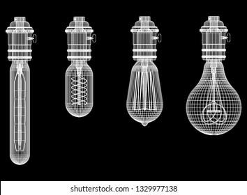 Light Bulbs Architect Blueprint  3D rendering