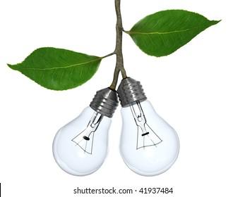 Light bulbs grow as if fruit from a tree.
