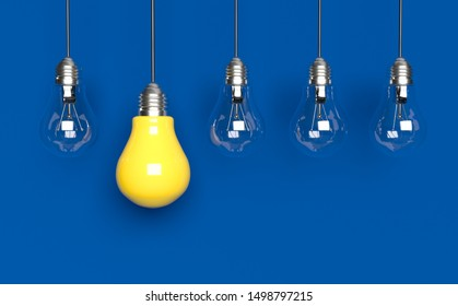 Light bulbs idea concept background. 3D rendering