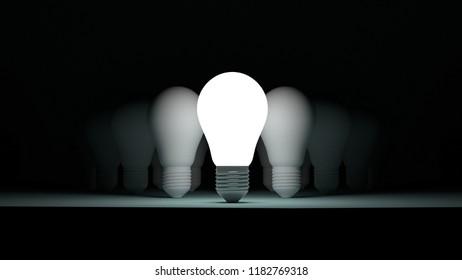 Light Bulbs idea ,leadership, success concept,different thinking