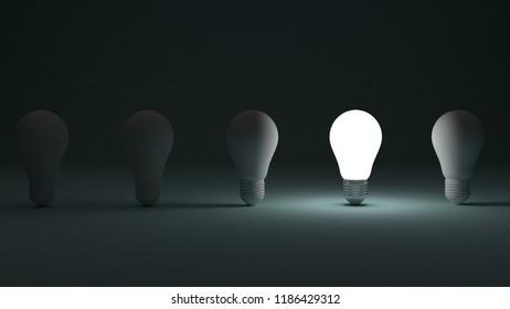 Light Bulbs idea ,leadership, success different thinking ,3D illustration,3D rendering