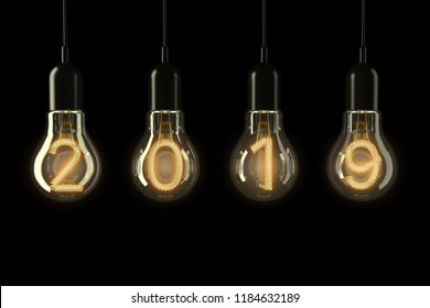 Light Bulbs Illuminated 2019 New Year on a black background. 3d Rendering.