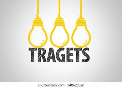 light bulbs tragets text , business idea , business concept
