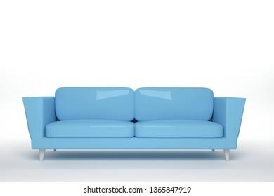 light bule Leather sofa design in white background, 3D rendering illustration