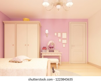 Light children's room in a classical style for a girl. 3D rendering.