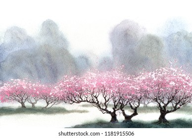 Light color watercolour scene in handmade asian style on paper backdrop and space for text on white fog. Quiet romantic springtime scenic view. Old lush rose peach on haze island bank of calm pond bay