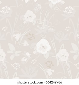 Light Colored Pansy Floral Background - Hand Drawn Elements - Cream, Brown, Pansies,