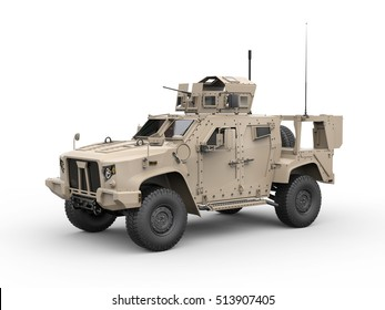 Light combat all terrain military vehicle - side view - 3D Render