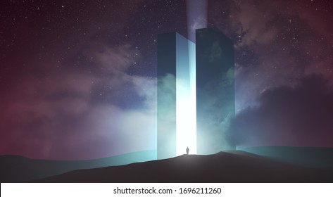 light coming out of magical gate in dark surreal landscape, 3d illustration