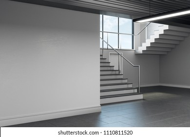 Light concrete school hallway interior with copy space on wall, stairs and window with sky view and daylight. Mock up, 3D Rendering
