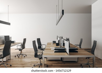 Light coworking office interior with furniture and daylight. Workplace concept. 3D Rendering