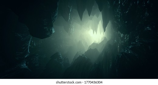 light in dark cave with stalactites 3d illustration