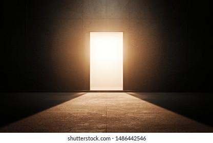 Puerta clara en habitación oscura. Renderizado 3d
