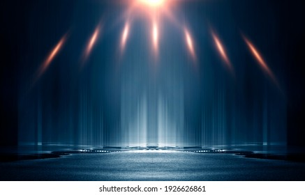 Light effect. Wet asphalt, night view of the city, neon reflections on the concrete floor. Night empty stage, studio. Dark abstract background, dark empty street rays and lines. Night city. 3D