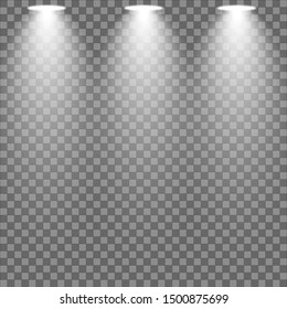 Light. Effects of light. Glare effects. Studio lighting on a checkered background. The illustration is drawn on a dark background.