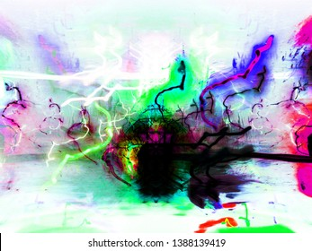 Light effects. Neon glow. Festive decoration. Abstract blurred background. Colorful pattern.