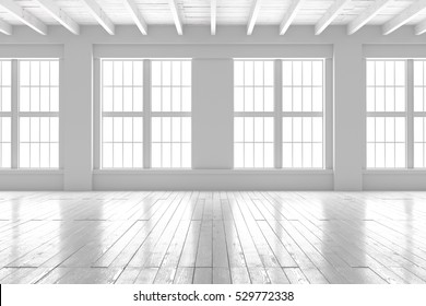 Light empty hall with large windows and parquet floors. Loft open space mockup. Studio or office blank space.