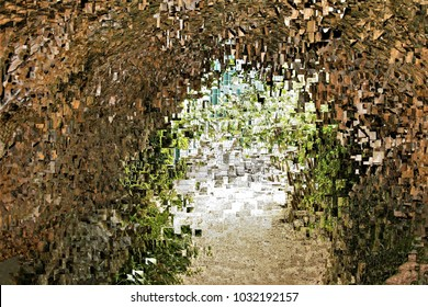 The light at the end of the tunnel,tribute to Pollock, abstract expressionism, art, digital, abstract illustration with mosaic effects of gradient colors ochre, white, green,