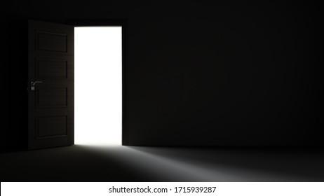 Light entering from black open door to dark room realistic 3D rendering