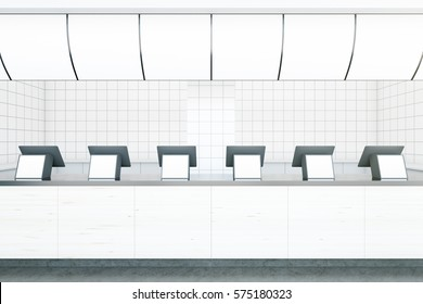 Light fast food restaurant counters with empty displays. Advertisment concept. Mock up, 3D Rendering