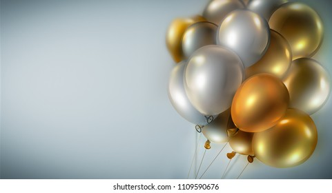 light festive background with bright gold and silver balloons, 3D image