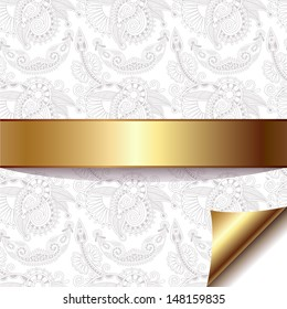 light floral background with gold ribbon, raster version