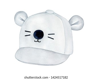 Light gray baseball cap with small ears, round funny nose and cute black whiskers. One single object, side view. Hand drawn watercolour graphic sketch on white background, cutout clip art element.