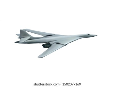 Light gray colored, modern Russian Tupolev Tu-160 bomber jet aircraft. Original illustration on a white background.