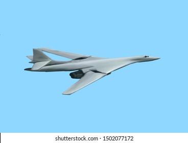 Light gray colored, modern Russian Tupolev Tu-160 bomber jet aircraft. Original illustration on a blue background.