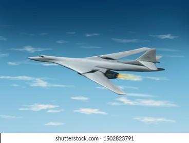 Light gray colored, modern Russian Tupolev Tu-160 bomber jet aircraft. On a cloudy sky background. Original illustration.