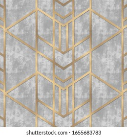 Light gray concrete with golden geometric lines