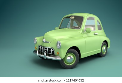 Light green cartoon car. 3D illustration