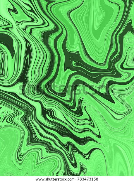 Light green and dark green digital background made of interweaving curved shapes. Illustration