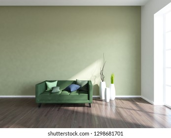 light green empty interior with a green sofa and vases. 3d illustration