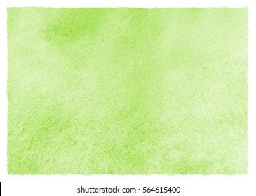 Light green, greenery watercolor background with stains and rough, uneven edges. Spring watercolour texture. Hand drawn abstract aquarelle fill. Eco, easter backdrop. Template for cards, banners.