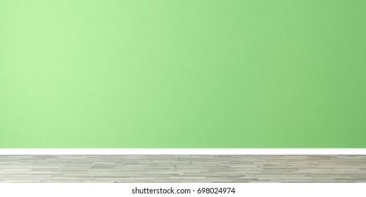 light green wall empty room 3D rendering