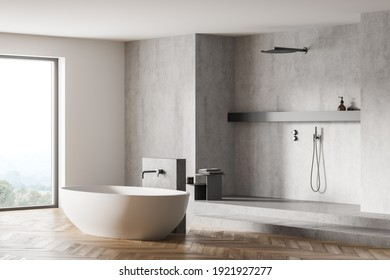 Light grey bathroom with white bathtub and shower near window, side view. Minimalist design of modern grey bathroom with parquet floor 3D rendering, no people