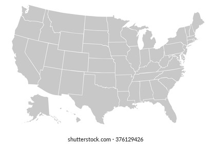 light grey map of the united states of america with no outline on white background with white internal borders