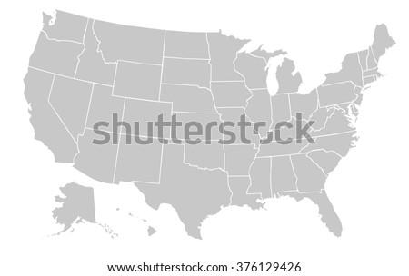 Light Grey Map United States America Stockillustration 376129426 ...