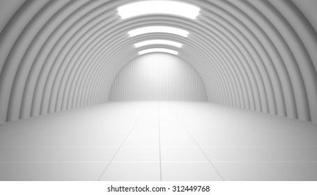 Light hangar, futuristic interior